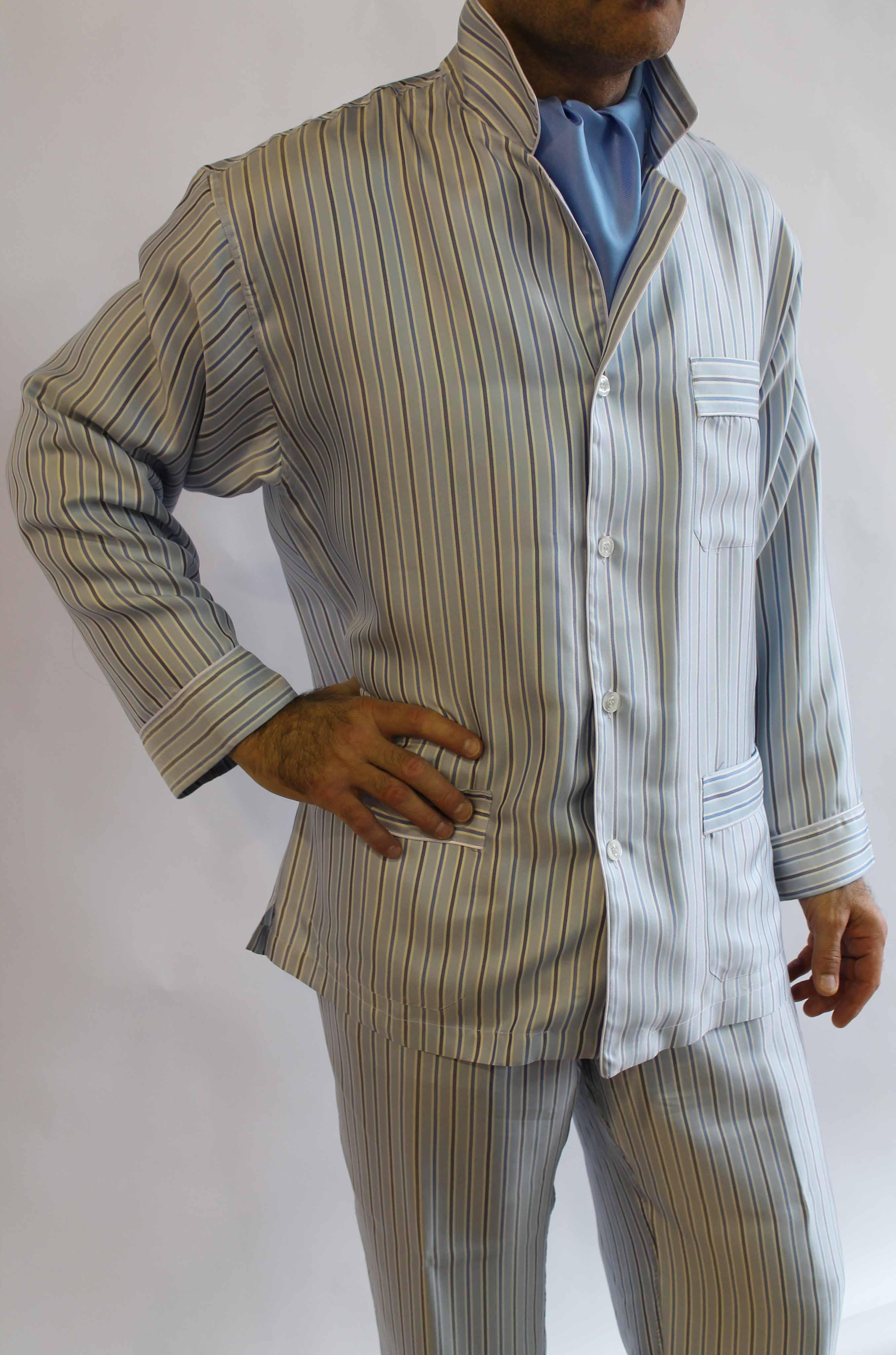pyjama classique pour homme en 100 soie jaquard avec passepoil. Black Bedroom Furniture Sets. Home Design Ideas