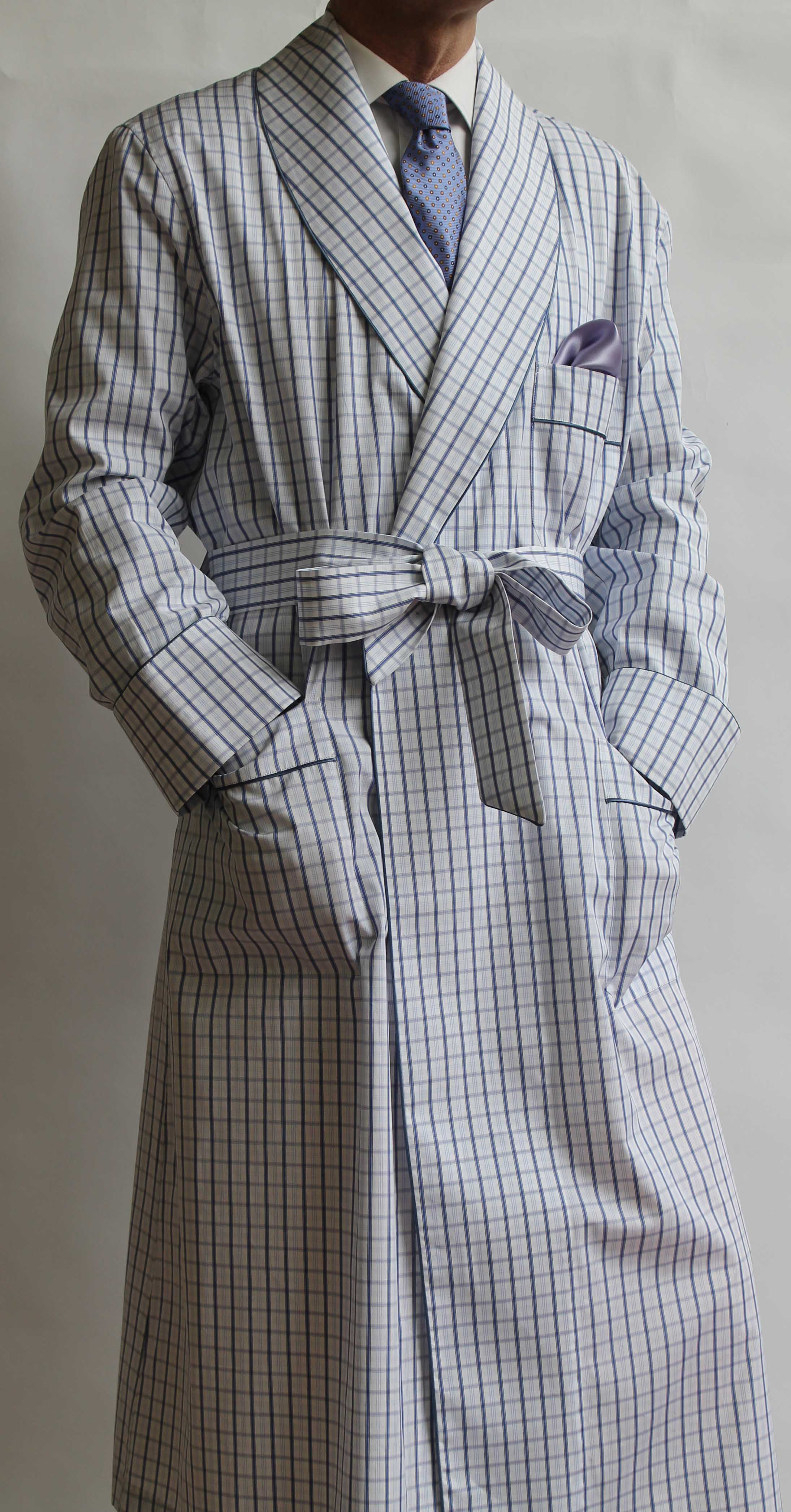 robe de chambre classique pour homme en 100 coton avec passepoil. Black Bedroom Furniture Sets. Home Design Ideas