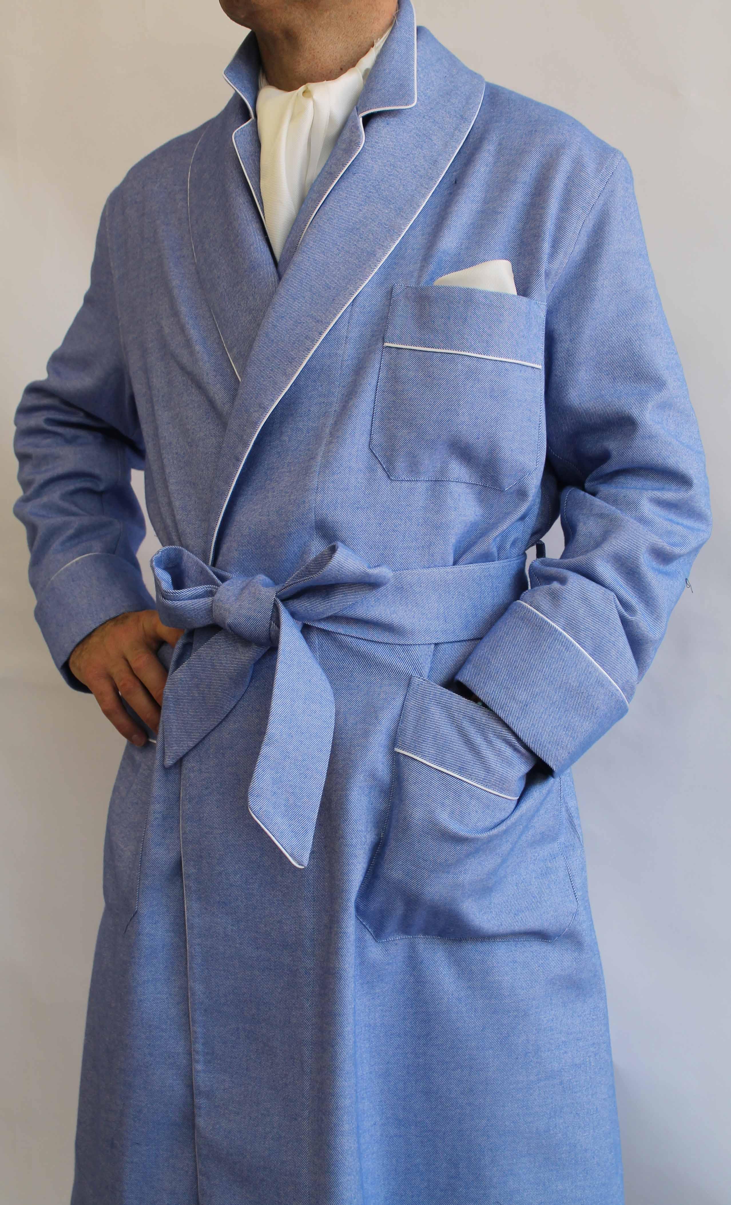 robe de chambre classique pour homme en coton gratte 39 avec passepoil. Black Bedroom Furniture Sets. Home Design Ideas