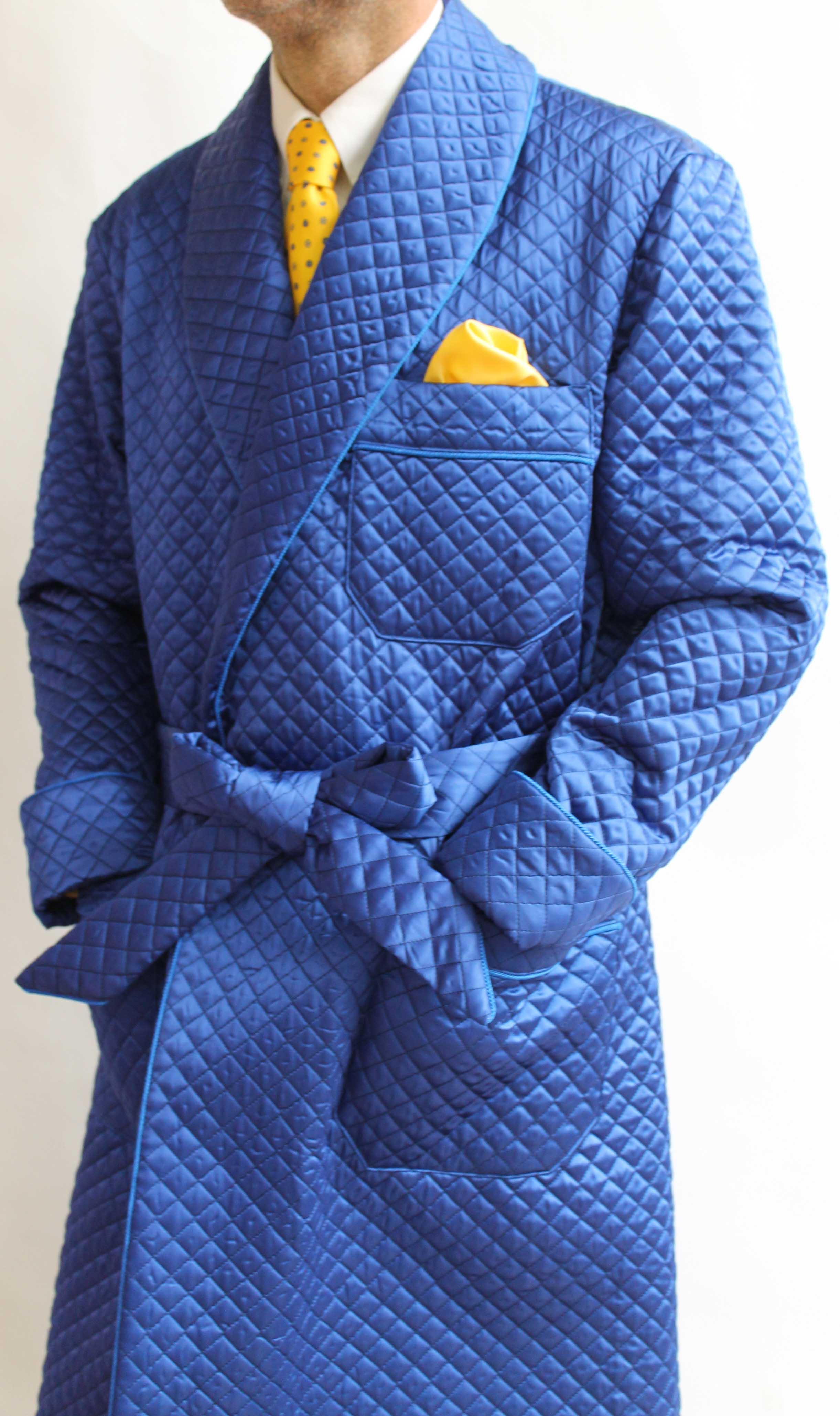 robe de chambre classique pour homme en bemberg matelass avec passepoil torsade doublure. Black Bedroom Furniture Sets. Home Design Ideas