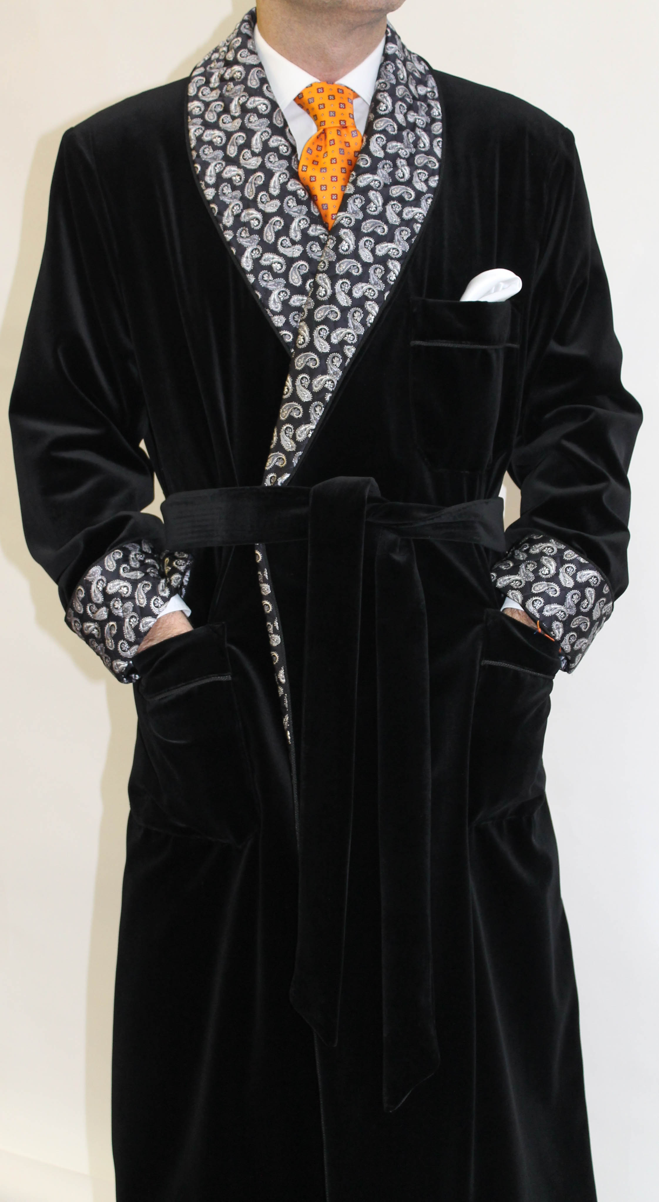 COTTON VELVET DRESSING GOWN FOR MAN FULLY LINED IN BEMBERG WITH ...