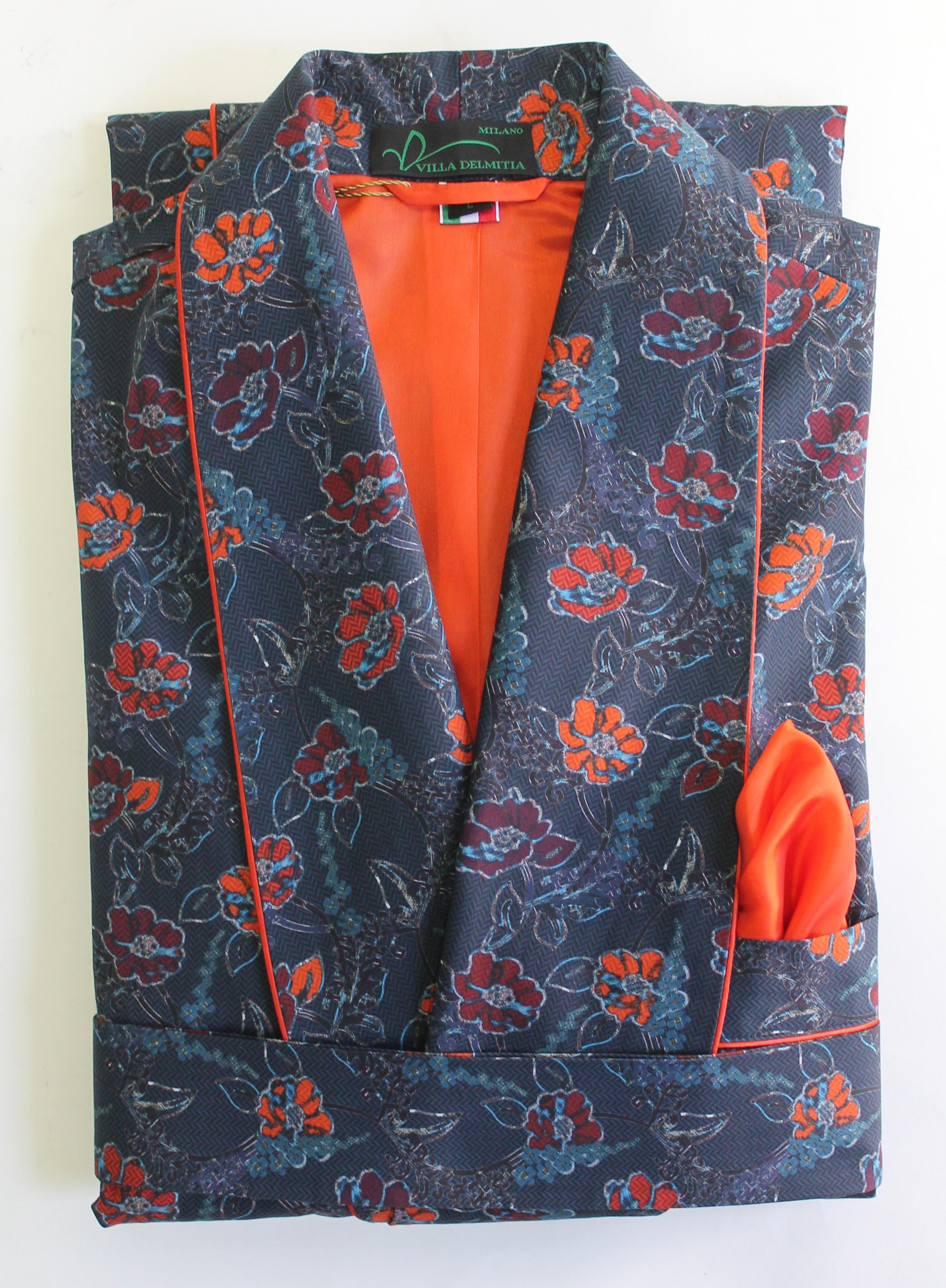 robe de chambre classique pour homme en 100 coton imprime 39 avec passepoil et doublure en bemberg. Black Bedroom Furniture Sets. Home Design Ideas