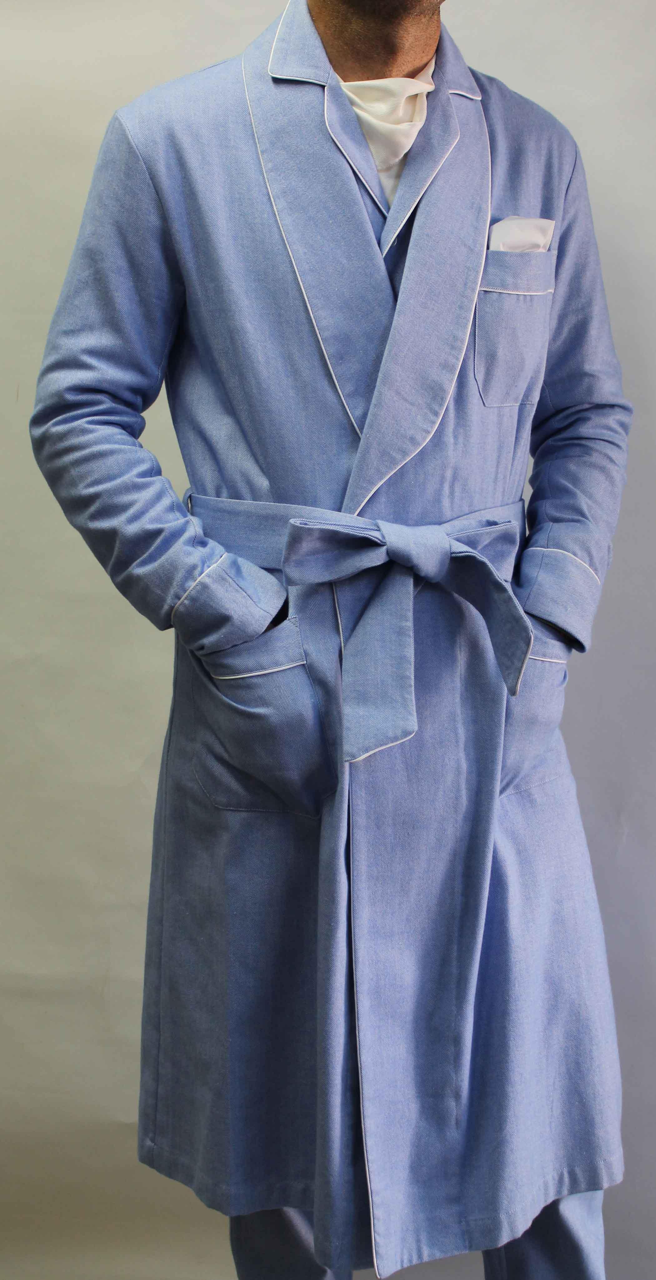robe de chambre classique pour homme en 100 coton gratte 39 avec passepoil. Black Bedroom Furniture Sets. Home Design Ideas