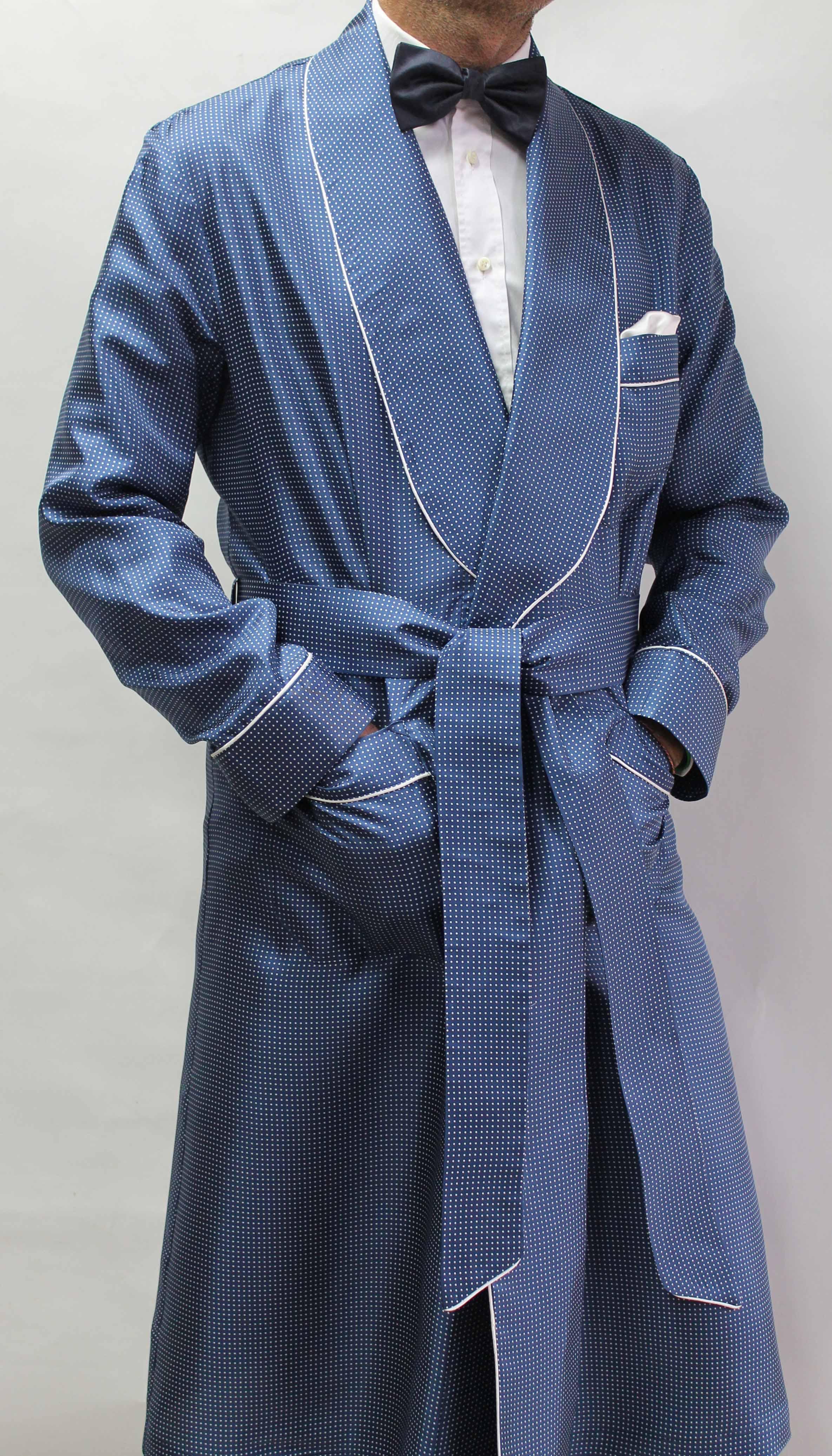 robe de chambre classique pour homme 100 soie twill imprim e avec passepoil. Black Bedroom Furniture Sets. Home Design Ideas