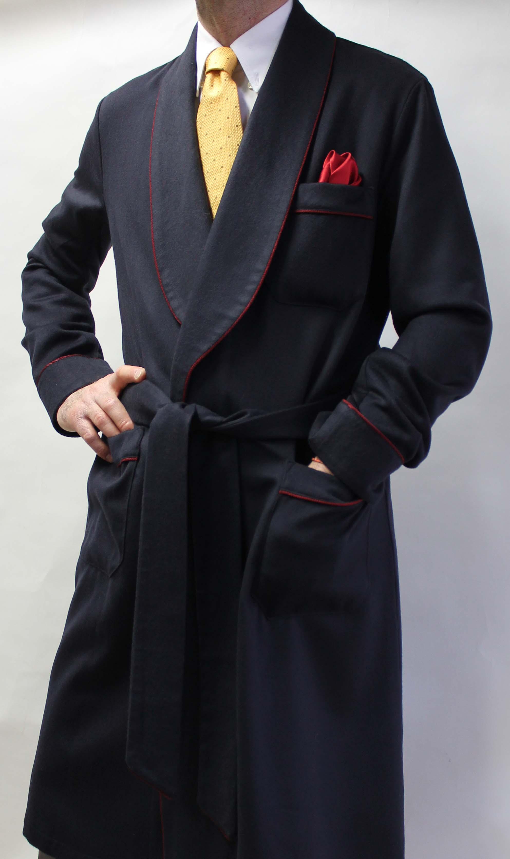 robe de chambre classique pour homme en 10 cachemire 90 laine avec doublure en soie twill. Black Bedroom Furniture Sets. Home Design Ideas