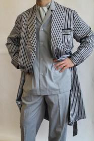 robe de chambre classique pour homme en coton rayure satin avec passepoil. Black Bedroom Furniture Sets. Home Design Ideas
