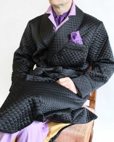 CLASSIC DRESSING GOWN FOR MAN IN QUILTED SATIN SILK FULLY LINED IN ... : mens quilted dressing gown - Adamdwight.com
