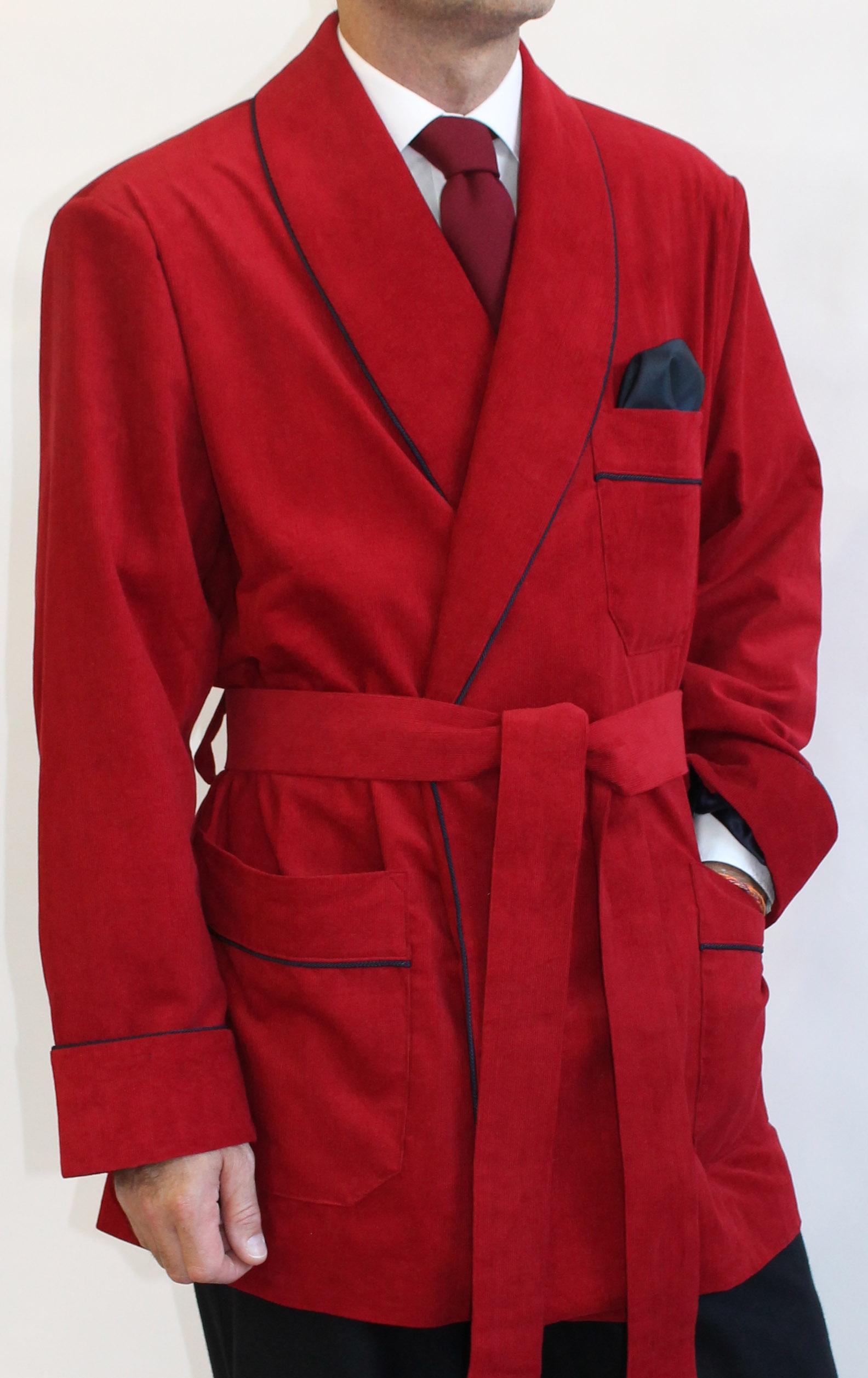 veste dinterieur pour homme en velours cotele avec passepoil et doublure