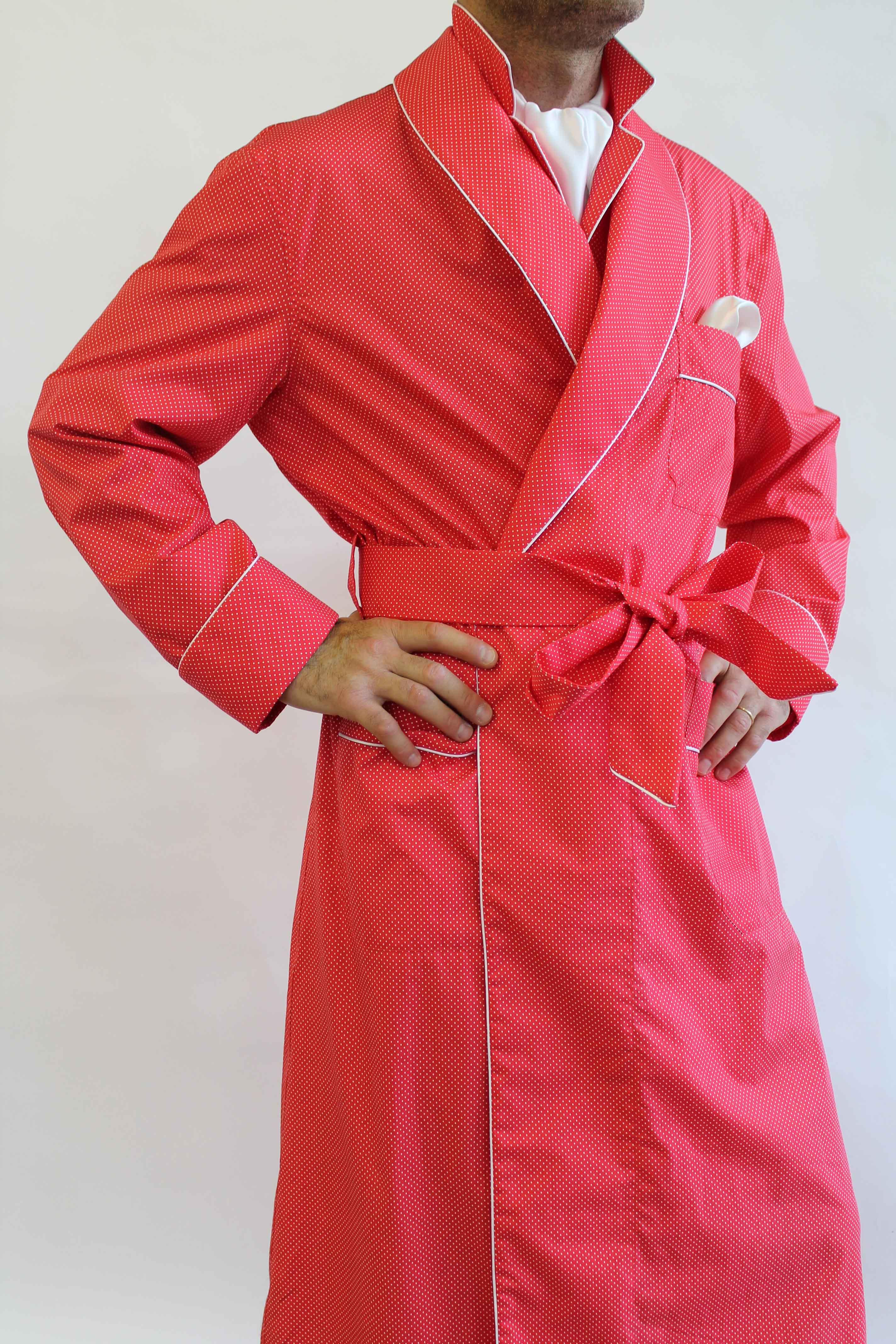 robe de chambre classique pour homme en 100 coton imprime 39 avec passepoil. Black Bedroom Furniture Sets. Home Design Ideas