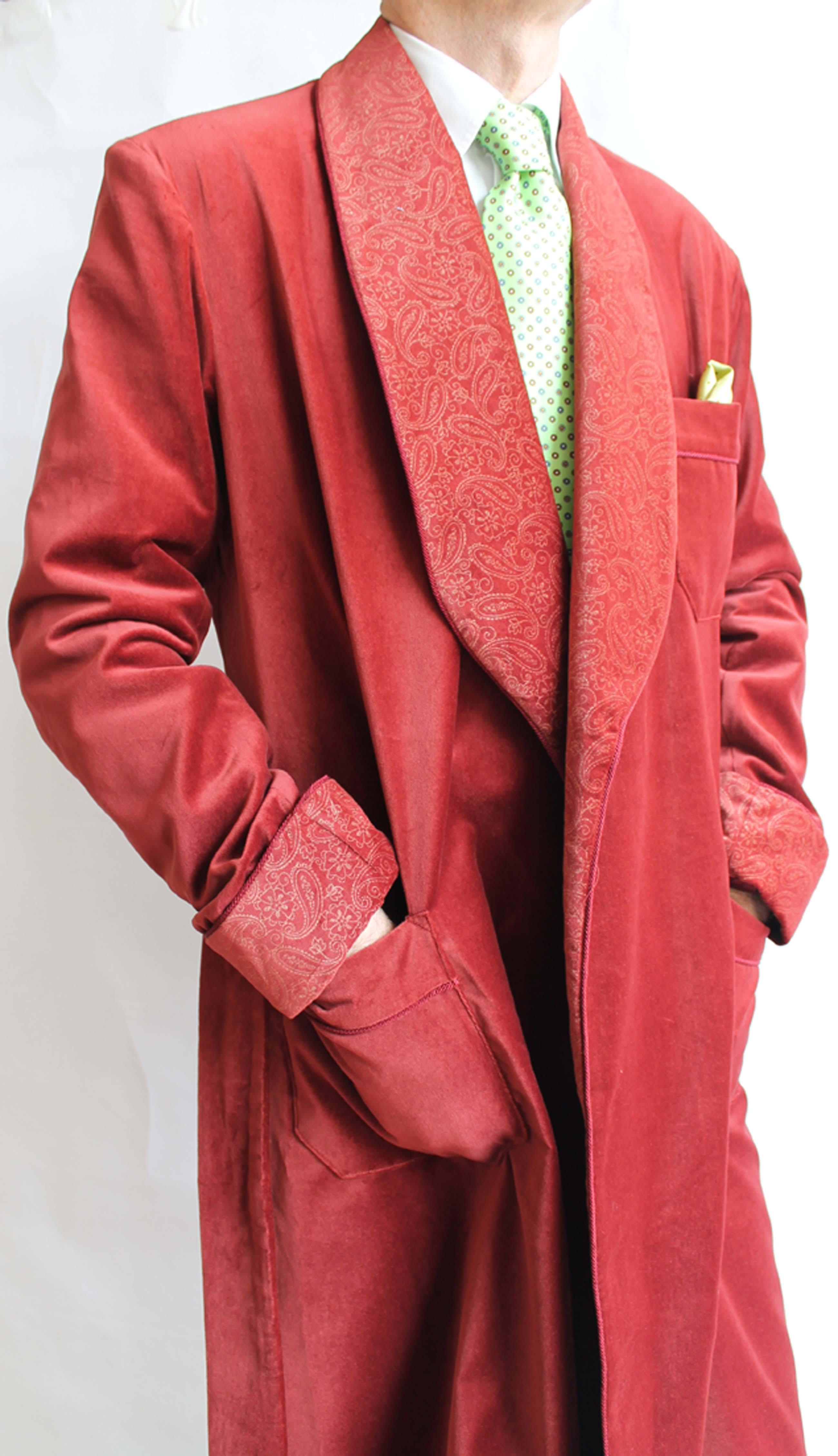 COTTON VELVET CLASSIC DRESSING GOWN FOR MAN FULLY LINED IN BEMBERG ...