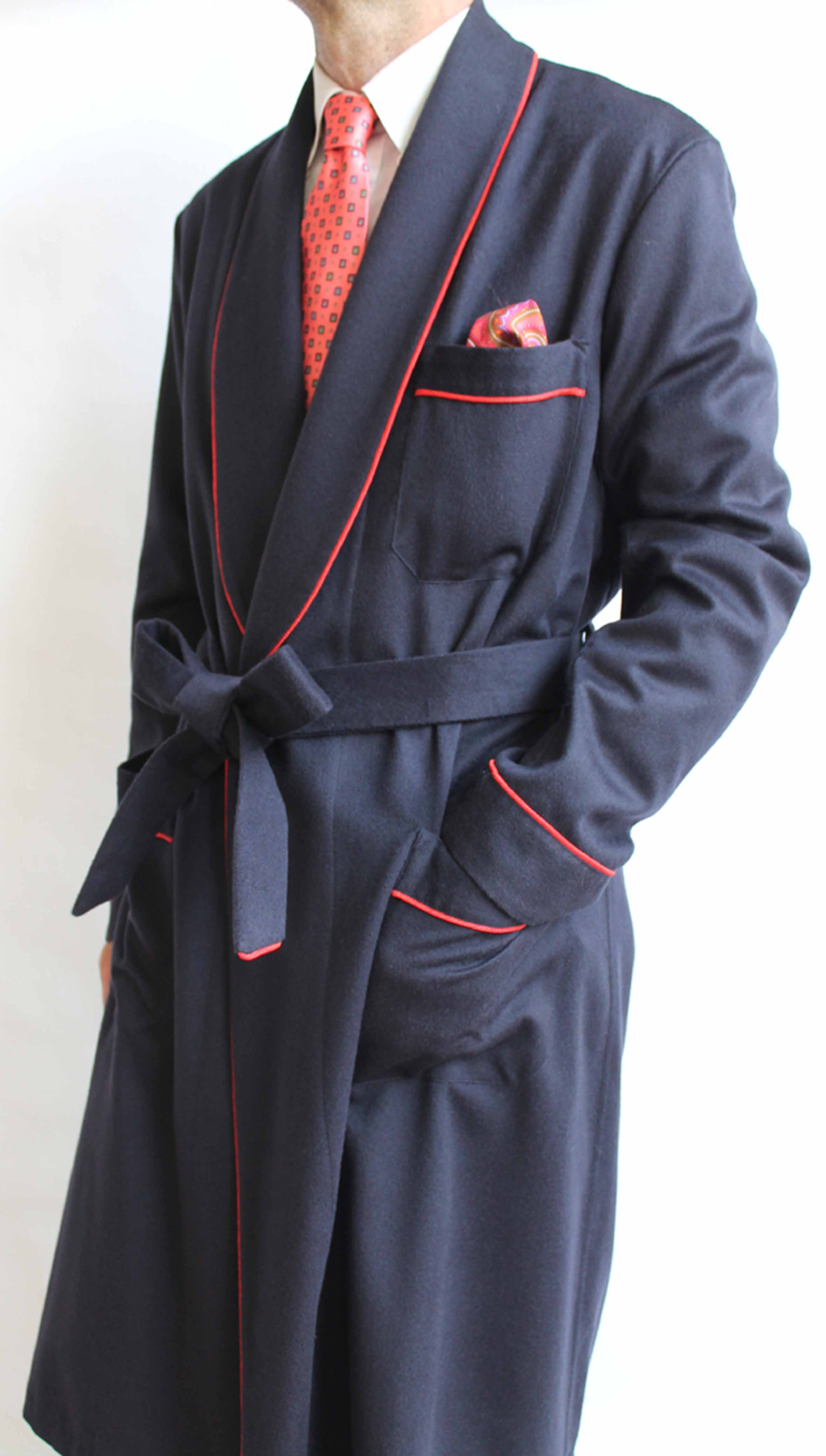 CLASSIC DRESSING GOWN FOR MAN IN 10%CASHMERE-90% WOOL WITH PIPING ...