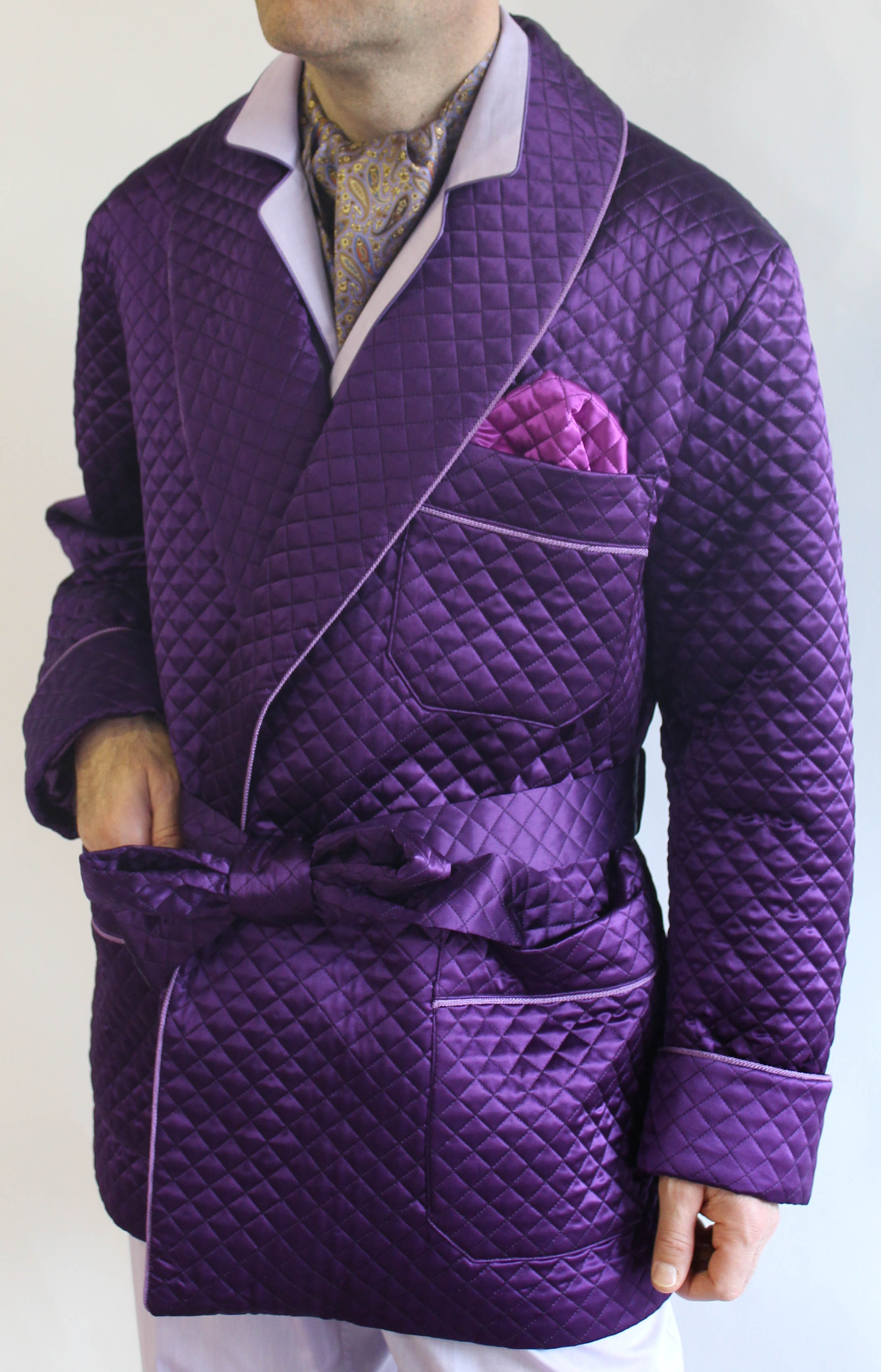 6df03f9d409 QUILTED SATIN SILK SMOKING JACKET FULL BEMBERG LINING