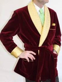 veste dinterieur classique pour homme en velours de coton avec contrastes en soie satin matelassepassepoildoublure en bemberg